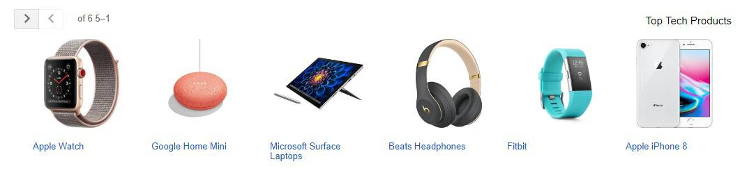 מוצרים בתצוגת גוגל שופינג