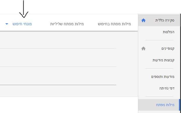 כרטיסיית מונחי חיפוש במנהל הקמפיינים של גוגל