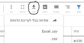 ייצוא נתונים מקמפיין גוגל