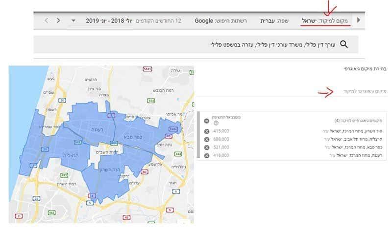 מיקוד מונחי חיפוש לפי אזורים גיאוגרפיים